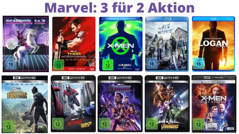 Marvel: 3 für 2 Aktion (Blu-ray, 4K UHD und DVD)