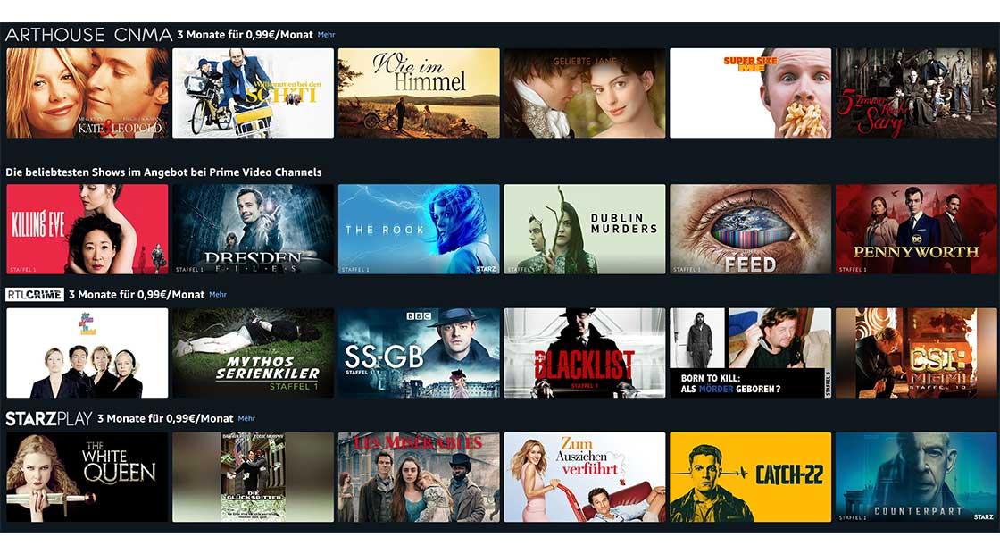 Prime Video Channels – Starzplay | Arthouse CNMA | RTL Crime – jeweils 3 Monate für je 99 Cent/Monat