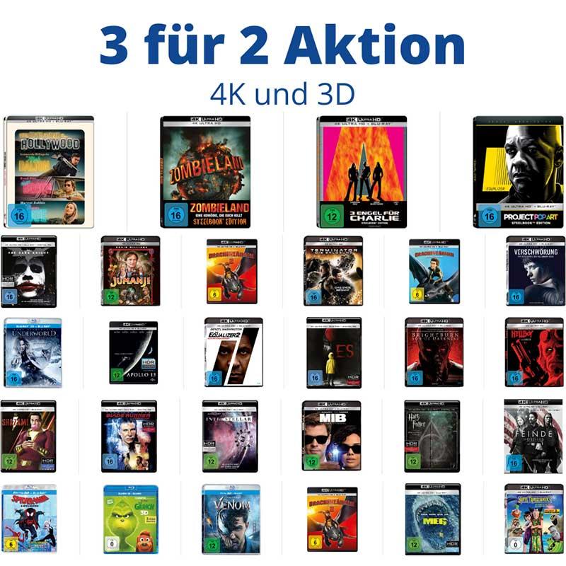 3 für 2 Aktion auf ausgesuchte 4K- und 3D Titel – Auswahl aus rund 250 Titeln