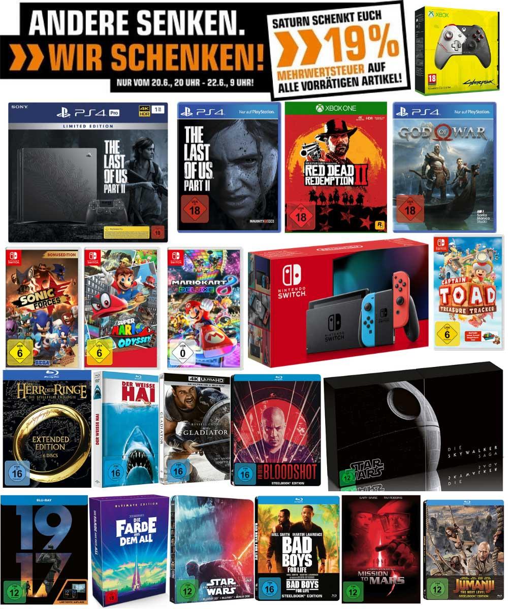 """""""Mehrwertsteuer geschenkt"""" auf alle vorrätigen Artikel bei Saturn – PS4 Pro im Last of US Design für für 335,29€   Skywalker Saga 4K Box für 159,59€"""
