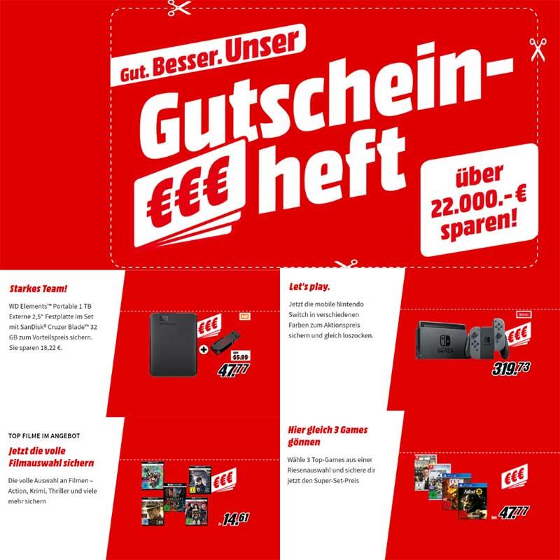 Gutscheinheft bei MediaMarkt – unter anderem mit: 3 Spiele für 47,77€ | 4K UHDs für je 14,61€