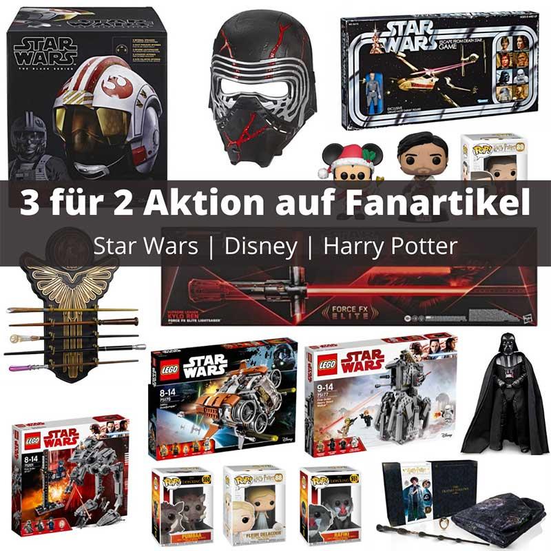 """""""3 für 2 Aktion"""" auf Star Wars, Disney und Harry Potter Fan Artikel"""