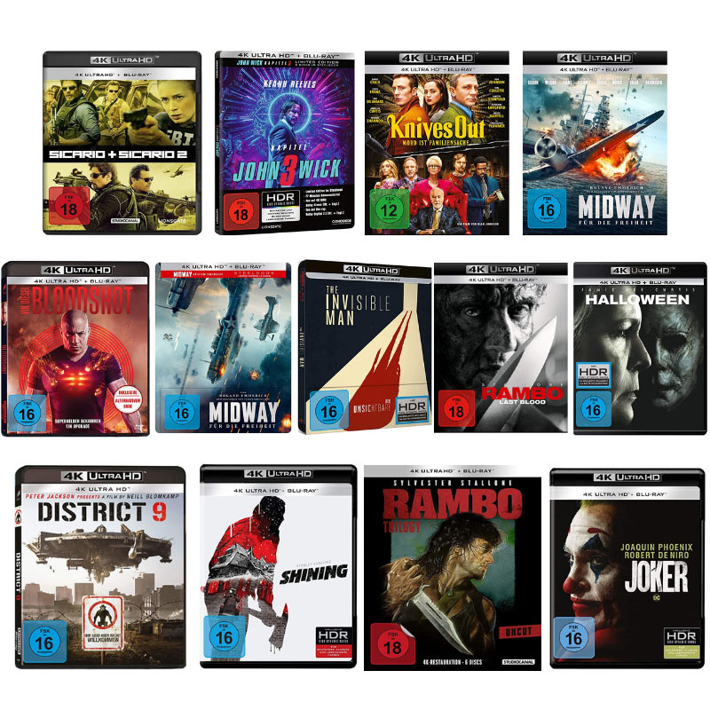 4K & 3D Titel reduziert – unter anderem: Rambo: Last Blood 4K für 15,57€ | Joker 4K für 16,97€ | Shining 4K für 16,27€
