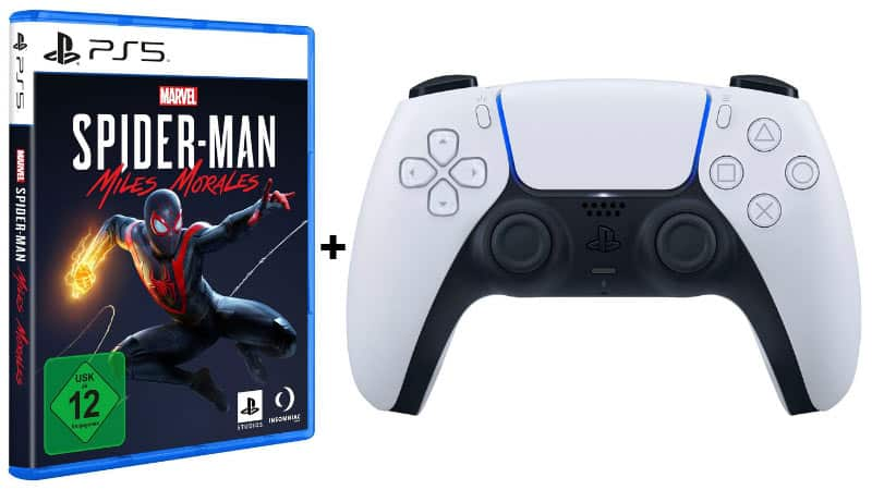 PlayStation 5 Dualsense Wireless-Controller & Marvel's Spider-Man: Miles Morales für zusammen 99,99€