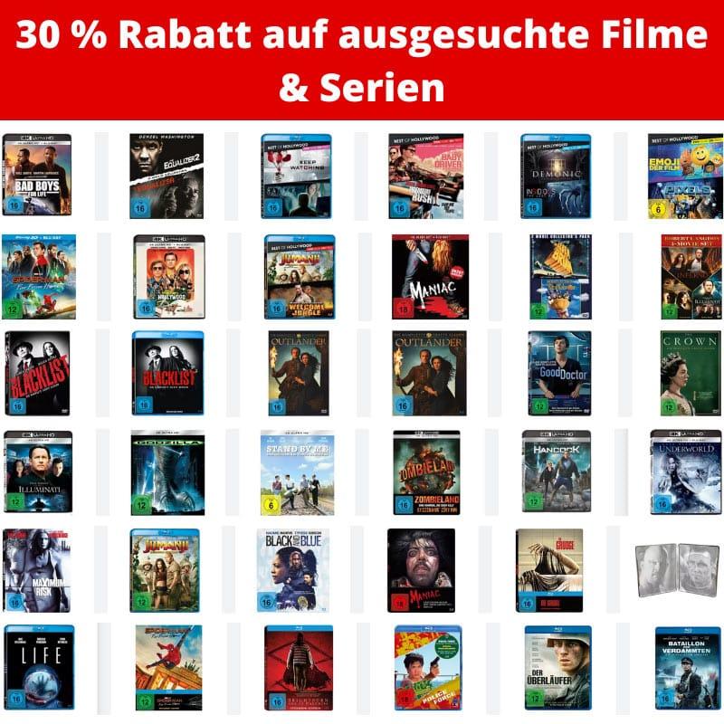 30% Rabatt auf ausgewählte Filme & Serien (4K UHD, Blu-ray und DVD)