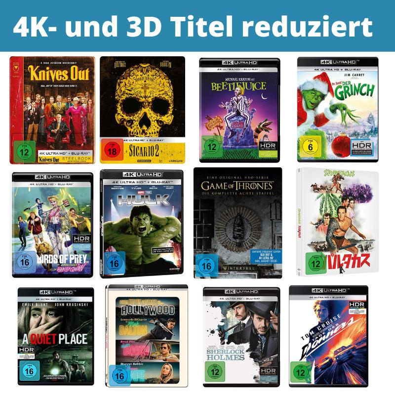 4K- und 3D Titel reduziert – unter anderem: Zombieland: Doppelt hält besser für 14,97€ | Sicario 2 Steelbook (4K Ultra HD + Blu-ray) für 21,97€