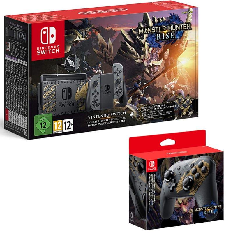 Nintendo Switch Konsole und Controller ab März 2021 im Monster Hunter Rise Design