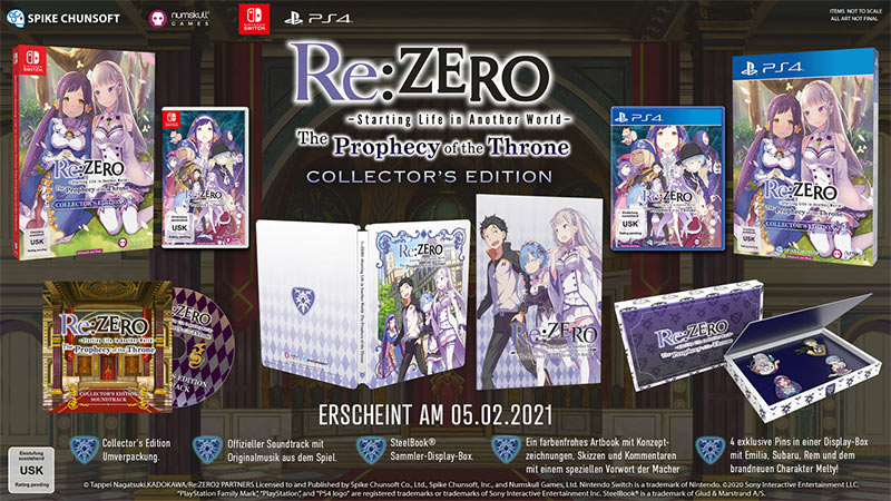 """RE:Zero -The Prophecy of the Throne"" ab Februar 2021 in einer Collectors Edition (Nintendo Switch & Playstation 4)"