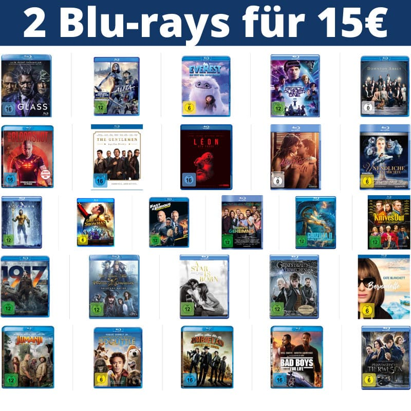 2 Blu-rays für 15€ – Auswahl aus über 120 Titeln