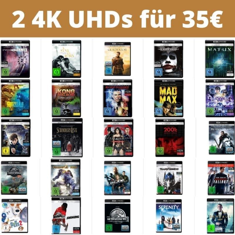 2 4K UHDs für 35€ – Auswahl aus über 160 Titeln