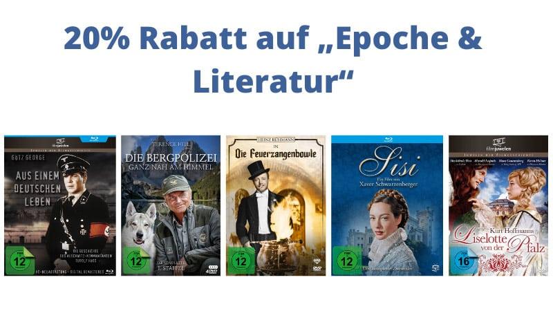 """20% Rabatt auf """"Epoche & Literatur"""" im Fernsehjuwelen Shop – unter anderem: diverse DVDs für je 7,96€"""