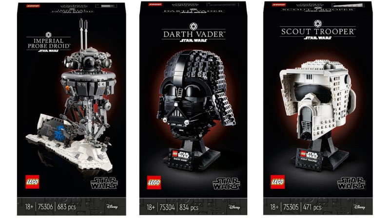 """Lego """"Darth Vader und Scout Trooper Helm"""" sowie """"Imperial Probe Droid"""" Modell 