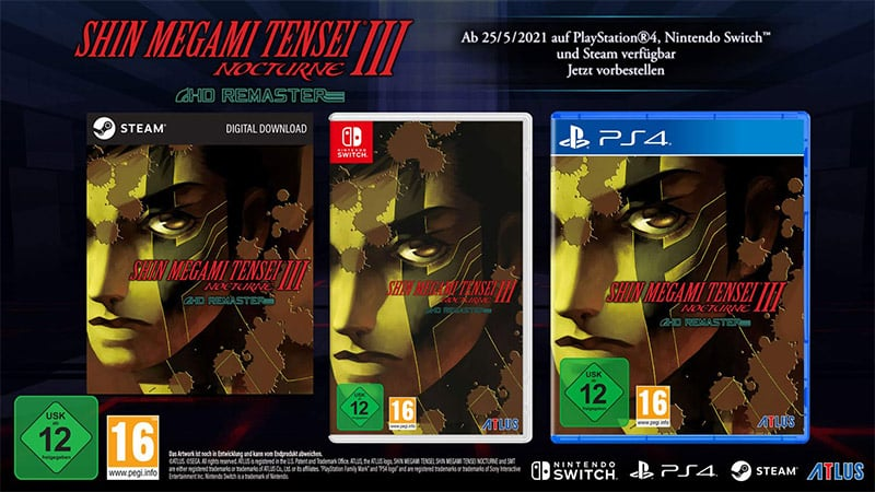 """Shin Megami Tensei III Nocturne HD Remaster"" für Nintendo Switch, Playstation 4 und PC 