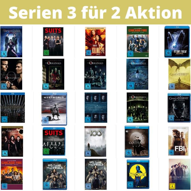 """""""3 für 2 Aktion"""" auf ausgesuchte Serien (Blu-ray und DVD)"""