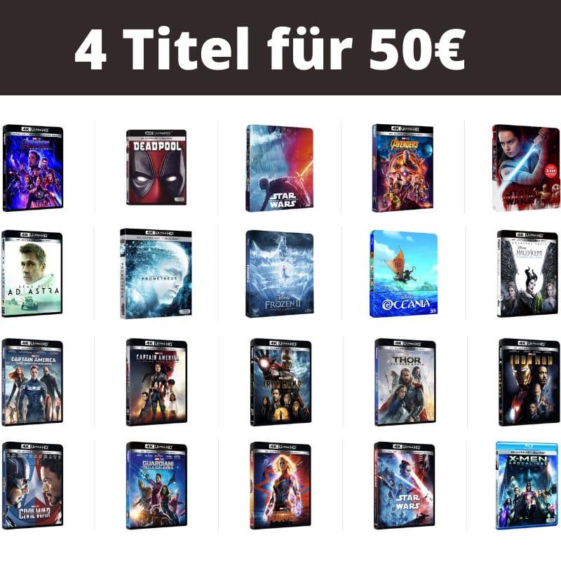 4 Titel für 50€ – Auswahl aus über 100 4K UHDs und Blu-rays (Italien)