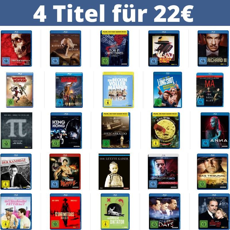 4 Blu-rays oder DVDs für 22€ – Auswahl aus über 830 Titeln – Aktion endet bald