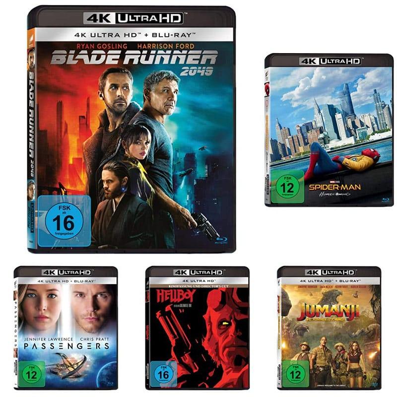 """""""Actionfilme Bundle"""" mit Blade Runner, Spider-Man: Homecoming, Jumanji: Willkommen im Dschungel, Hellboy, Passengers auf 4K UHD für 49,97€"""
