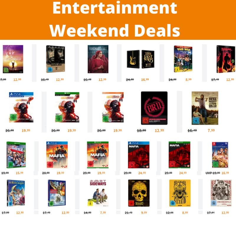Entertainment Weekend Deals – unter anderem mit: Blu-ray Mediabooks für je 12,99€