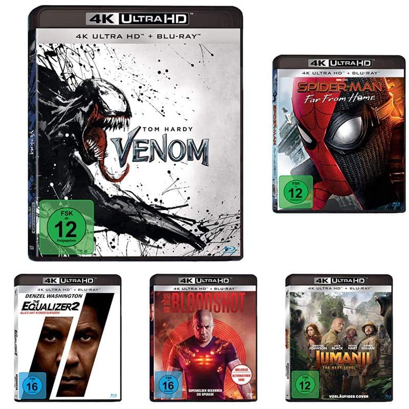 """""""Heldenfilme Bundle"""" mit Venom, Spider-Man: Far From Home, Jumanji: The Next Level, Bloodshot, Equalizer 2 auf 4K UHD für 49,97€"""