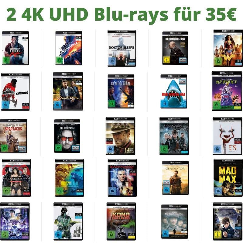 2 4K UHD Blu-rays für 35€ – Auswahl aus über 140 Titeln
