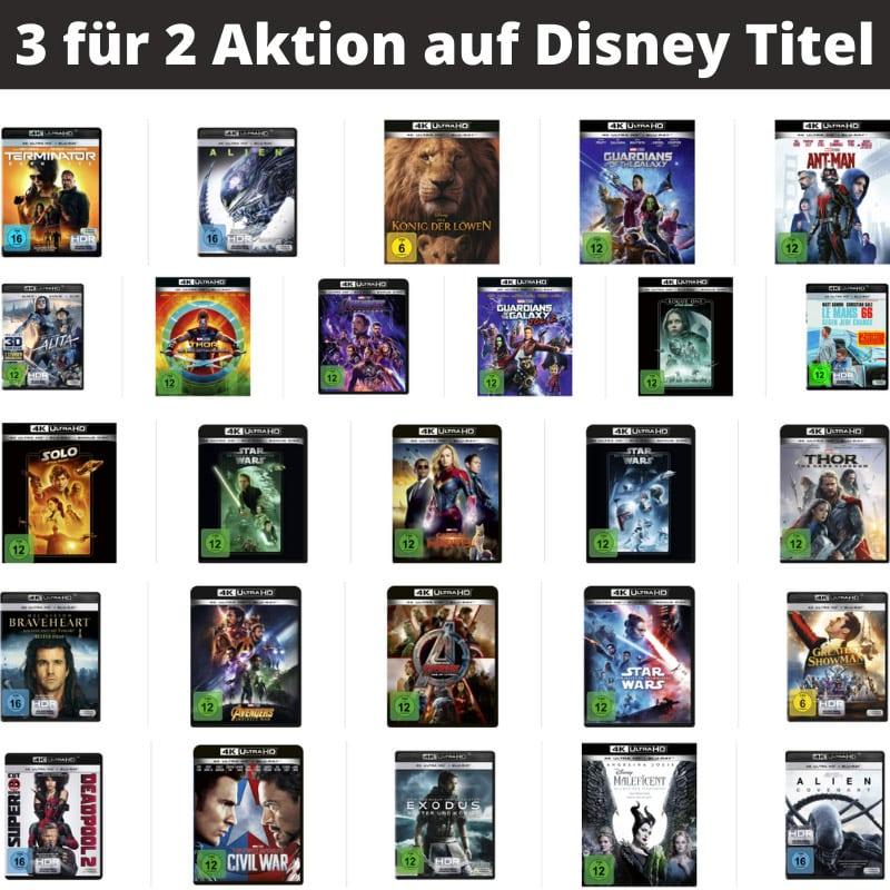 3 für 2 Aktion auf diverse Filme in 4K von Disney bei Amazon – Auswahl aus über 80 Titeln   Aktion endet bald