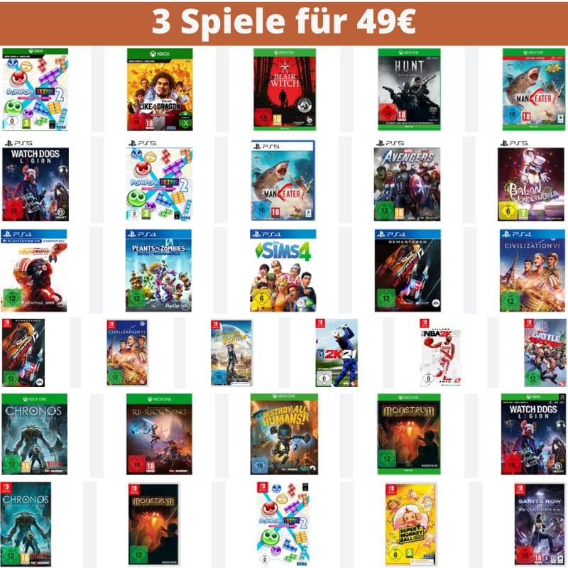 Saturn Gutscheinheft – unter anderem mit: 3 Spiele für 49€ (Playstation 4/5, Xbox One/ Series X/S, Nintendo Switch, PC) | Amazon kontert