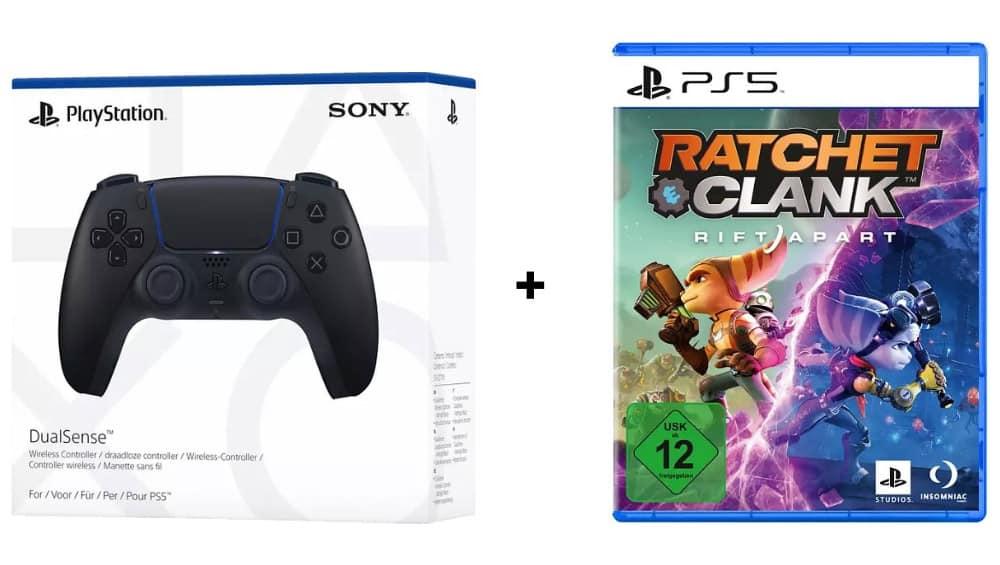DualSense Wireless Controller Midnight Black + Ratchet & Clank: Rift Apart [PlayStation 5] für 87,61€