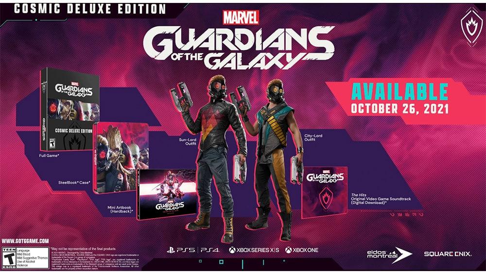 """Marvel Guardians of the Galaxy"" Cosmic Deluxe Edition inkl. Steelbook für die Playstation 4/5 und Xbox One/ Series X   ab Oktober 2021"