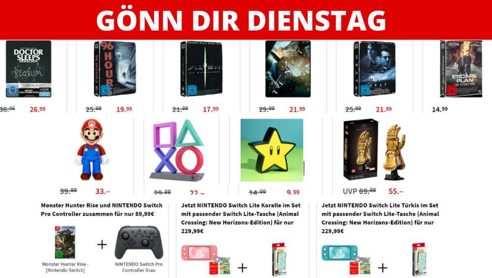 Gönn-dir-Dienstag Aktion – unter anderem mit: Switch Pro Controller + Monster Hunter Rise für zusammen 89,99€