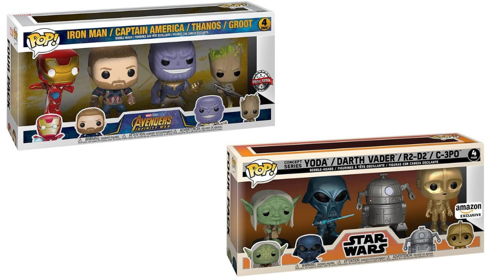 "Funko POP! ""Marvel: Marvel Classic"" & ""Star Wars: Retro"" jeweils als 4-er Pack"