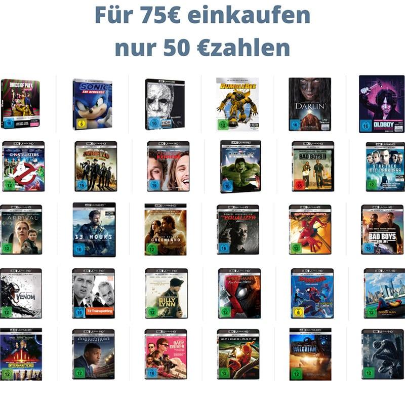 Sparpaket: Für 75€ kaufen, nur 50€ bezahlen – Auswahl aus über 250 4K Titeln – Aktion endet bald