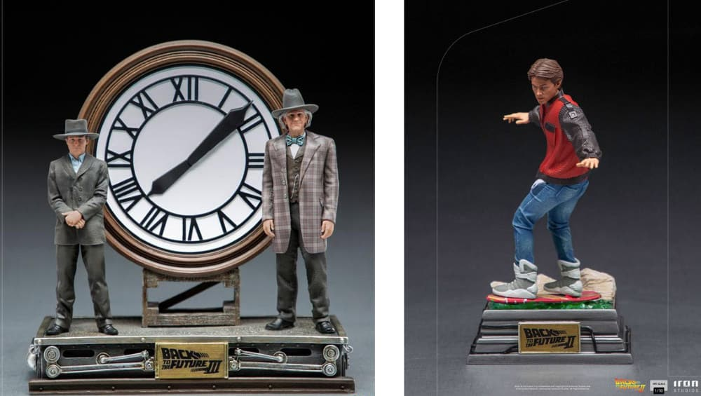 Zurück in die Zukunft: Marty McFly on Hoverboard & Marty and Doc at the Clock 1/10 Statue von Iron Studios | ab 3. Quartal 2022