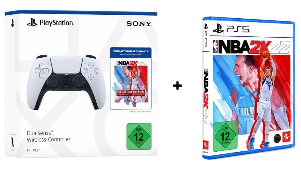 DualSense Wireless Controller inkl. NBA 2K22 Jumpstart + NBA 2K22 Amazon Standard Plus für die Playstation 5 für 99,99€